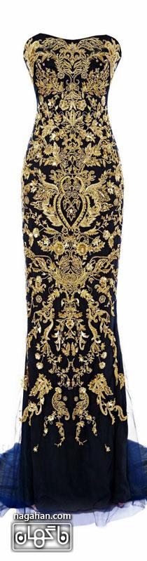 جدیدترین لباس شب زنانه | پیراهن های گیپور و سنگ دوزی شده برای مجالس نامزدی، عقد و عروسی رنگ مشکی و طلایی