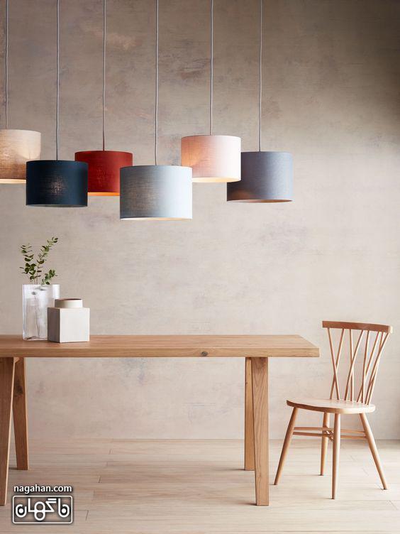 چراغ آویز مدرن و جدید مخصوص آشپزخانه رنگ پاستلی