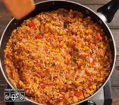 روش تهیه برنج مکزیکی 1