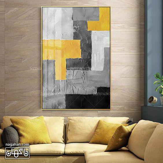 نقاشی آبستره آکریلیک با رنگ های طوسی و زرد و خاکستری