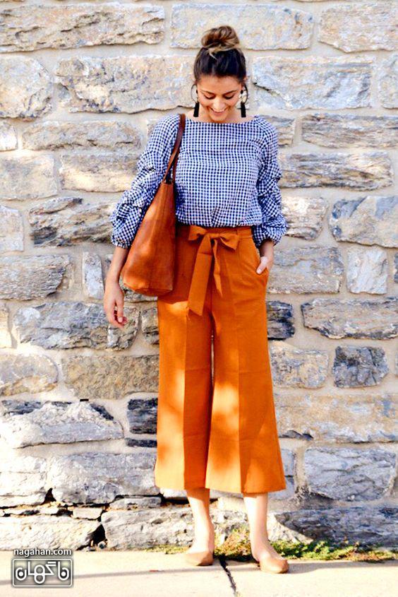 مدل لباس راحت دخترانه شلوار پارچه ای گشاد