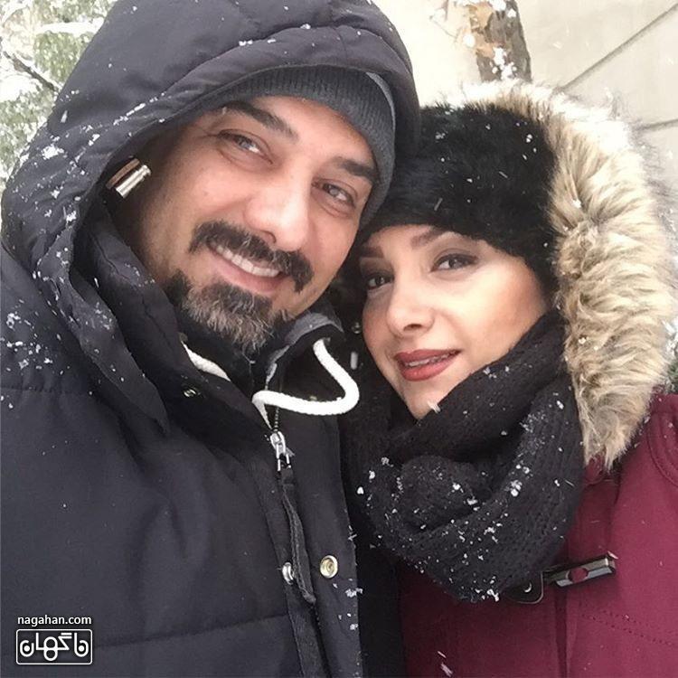 عکسبرزو ارجمند در کنار همسرش در برف