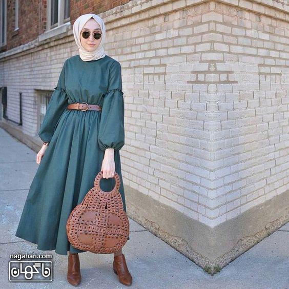 عکس مدل مانتو پیراهنی بلند دخترانه و زنانه اندامی نخی خنک سبز