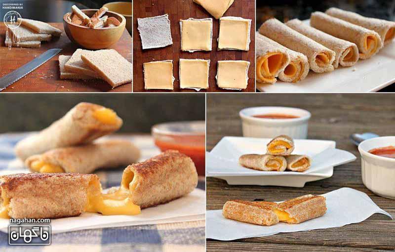آموزش تصویری لقمه پنیری رول شده