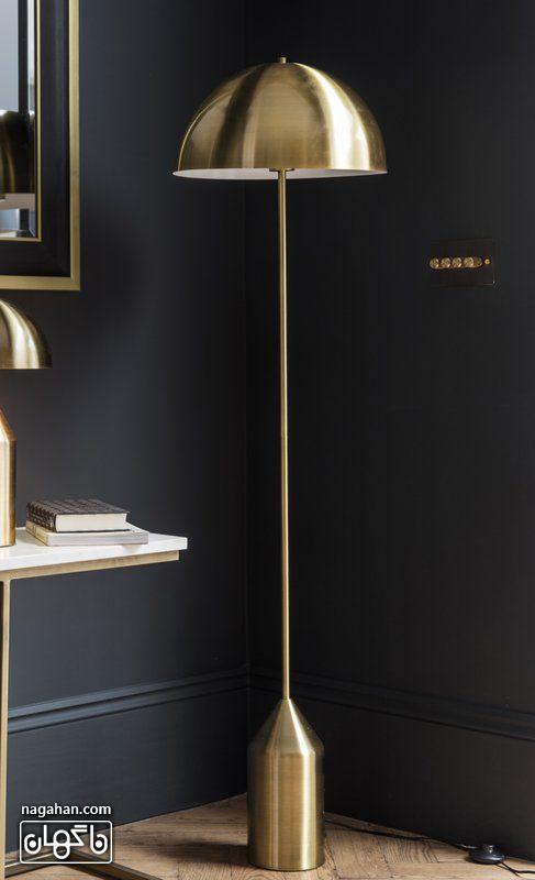 آباژور مدرن و خاص برای چیدمان اتاق پذیرایی و سالن طلایی و فلزی