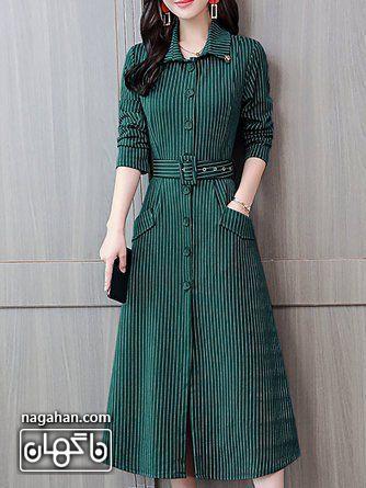 عکس مدل مانتو پیراهنی بلند دخترانه و زنانه اندامی راه راه سبز و سفید