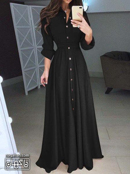 عکس مدل مانتو پیراهنی بلند دخترانه و زنانه اندامی نخی مشکی