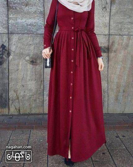 عکس مدل مانتو پیراهنی بلند دخترانه و زنانه آلبالویی