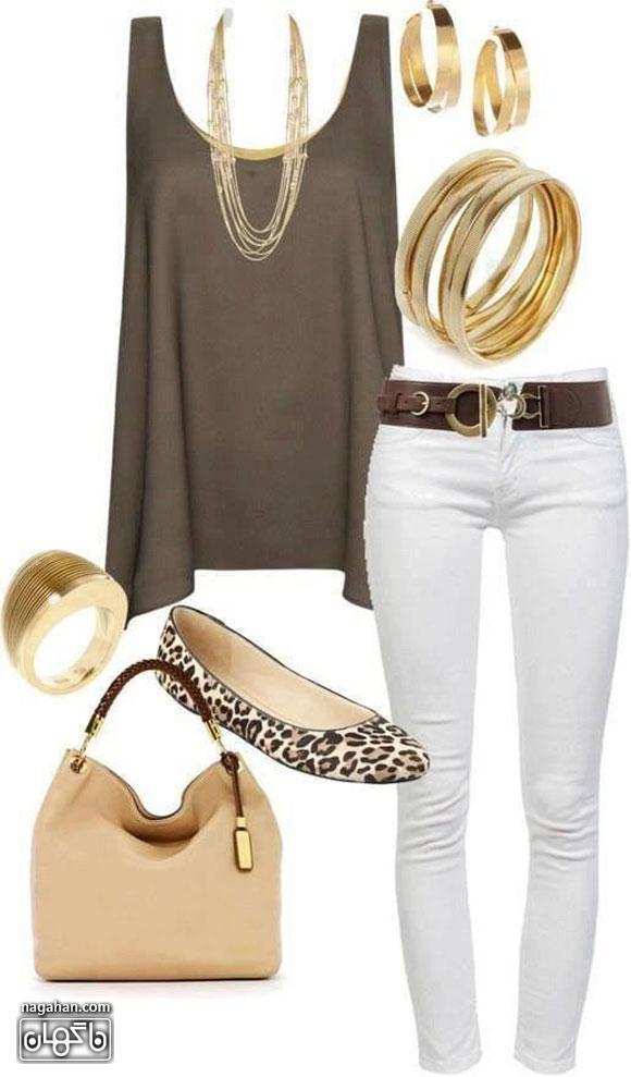 عکس لباس ست - تاپ و شلوار شیک به همراه کیف و کفش و بدلیجات