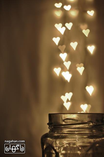 پروفایل عاشقانه قلب نورانی طلایی